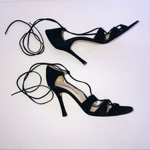 CHARLES DAVID • black lace up black suede heels